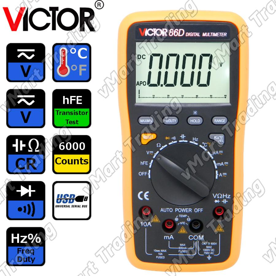 VICTOR 86D Digital Multimeter with Real-time USB Data Logging