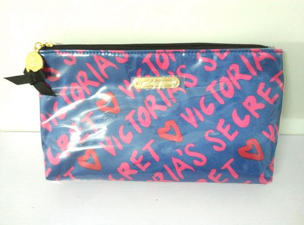 Victoria's Secret Large Capacity PVC Logo Blue Pink Print Cosmetic Bag