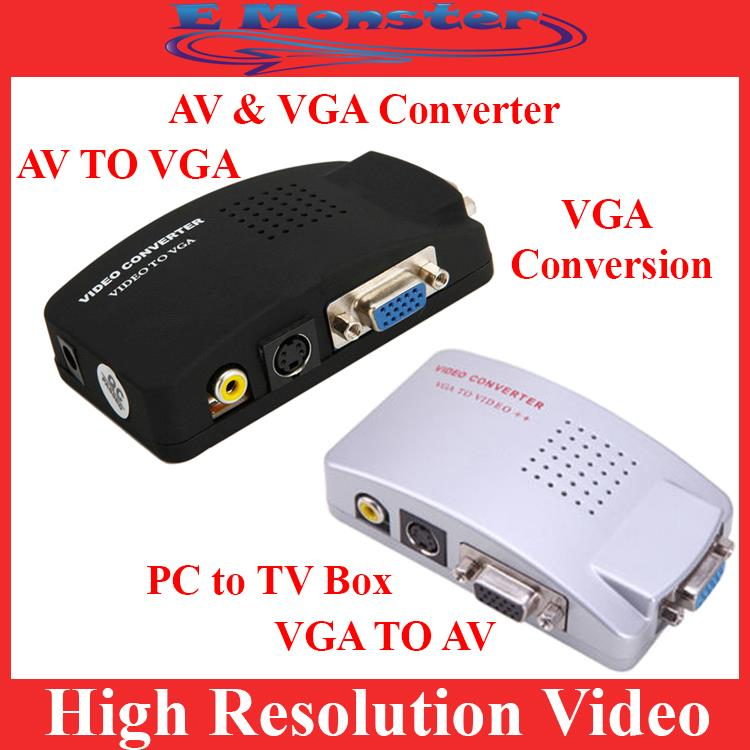 Video Svideo TV AV RCA to PC VGA Signal Adapter Converter Video Switch