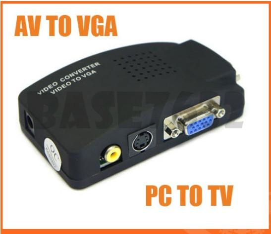 Video  TV AV RCA to PC VGA  Signal Adapter Converter Video Switch Box