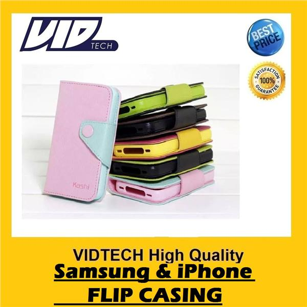 VIDTECH High Quality KASHI Flip Casing for iPhone 4 4s 5 5s Samsung S3