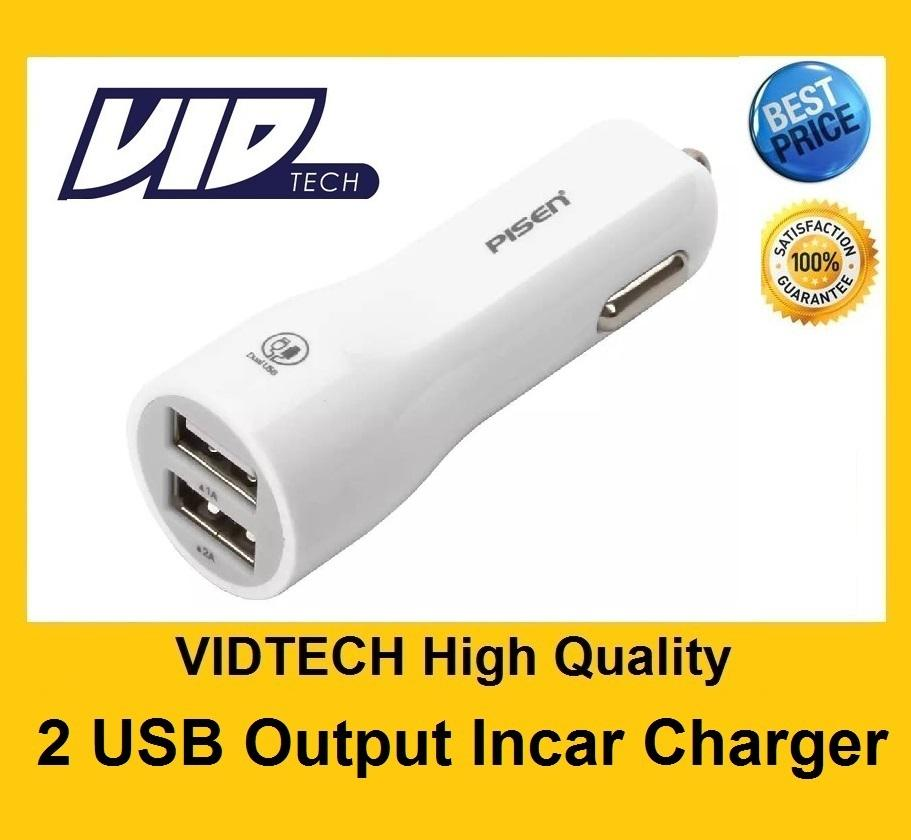 VIDTECH High Quality PISEN Two USB Output In Car Charger Adapter