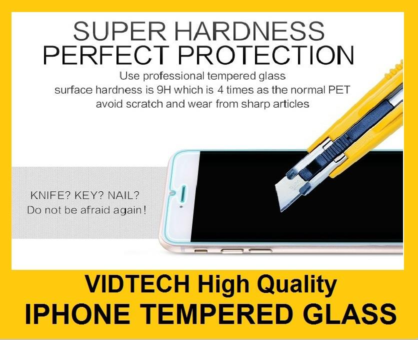 VIDTECH iPhone 7 7 Plus 4 4S 5 5S 6 PLUS Tempered Glass Screen Protect