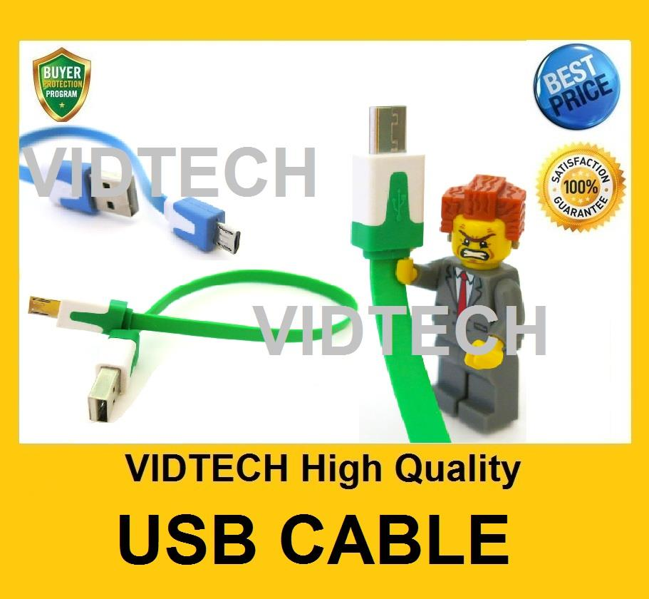 VIDTECH Samsung iPhone 5 5s 5c Short USB Data Cable Flat