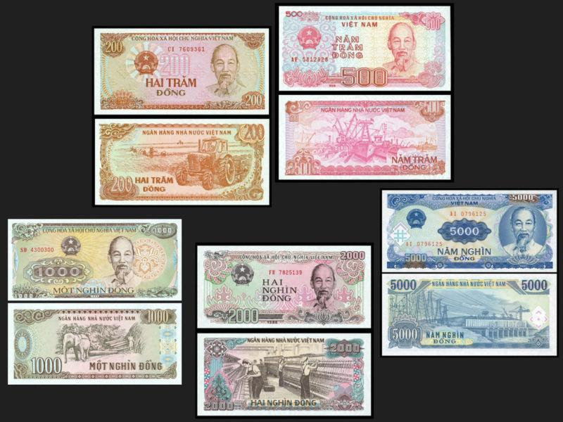 VIETNAM 5 pcs IN SET [5000-2000-1000-500-200 DONG]
