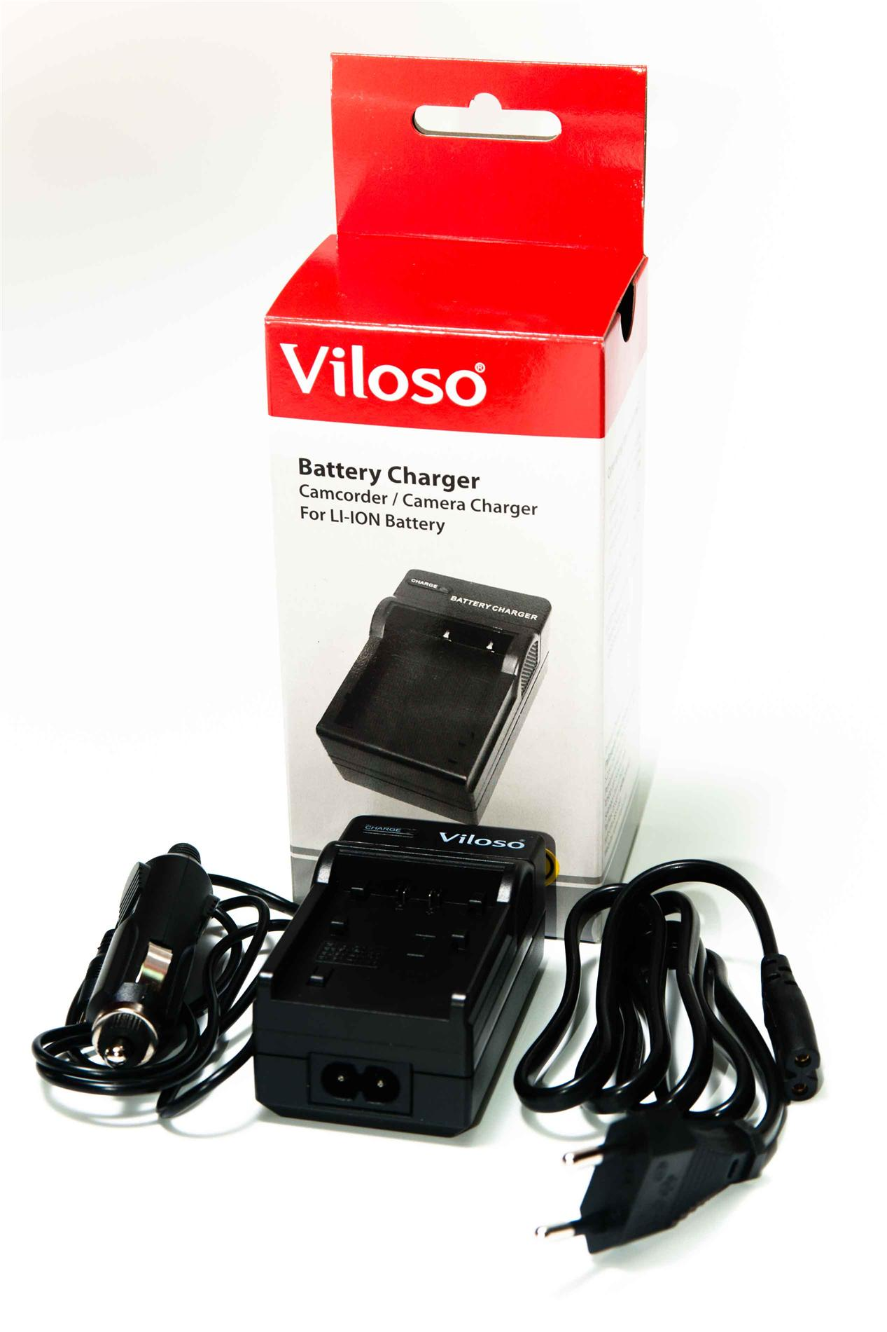 VILOSO camera charger with car adapter for SONY NP-FV100, 70 & 50