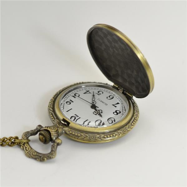 Vintage Bronze Engraved Men Pocket Watch Antique Men Quartz Watch cm