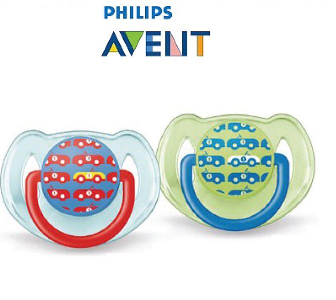 VINZ Philips AVENT Classic Soothers 6-18m Twin Pack - Blue Green Cars