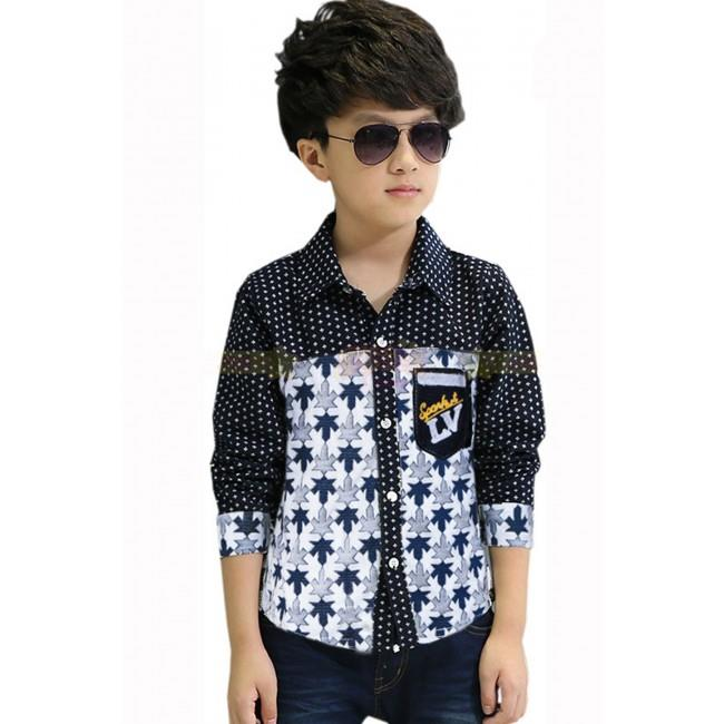 VINZ SGB12774 Casual Kids Long Sleeve Shirt - Black