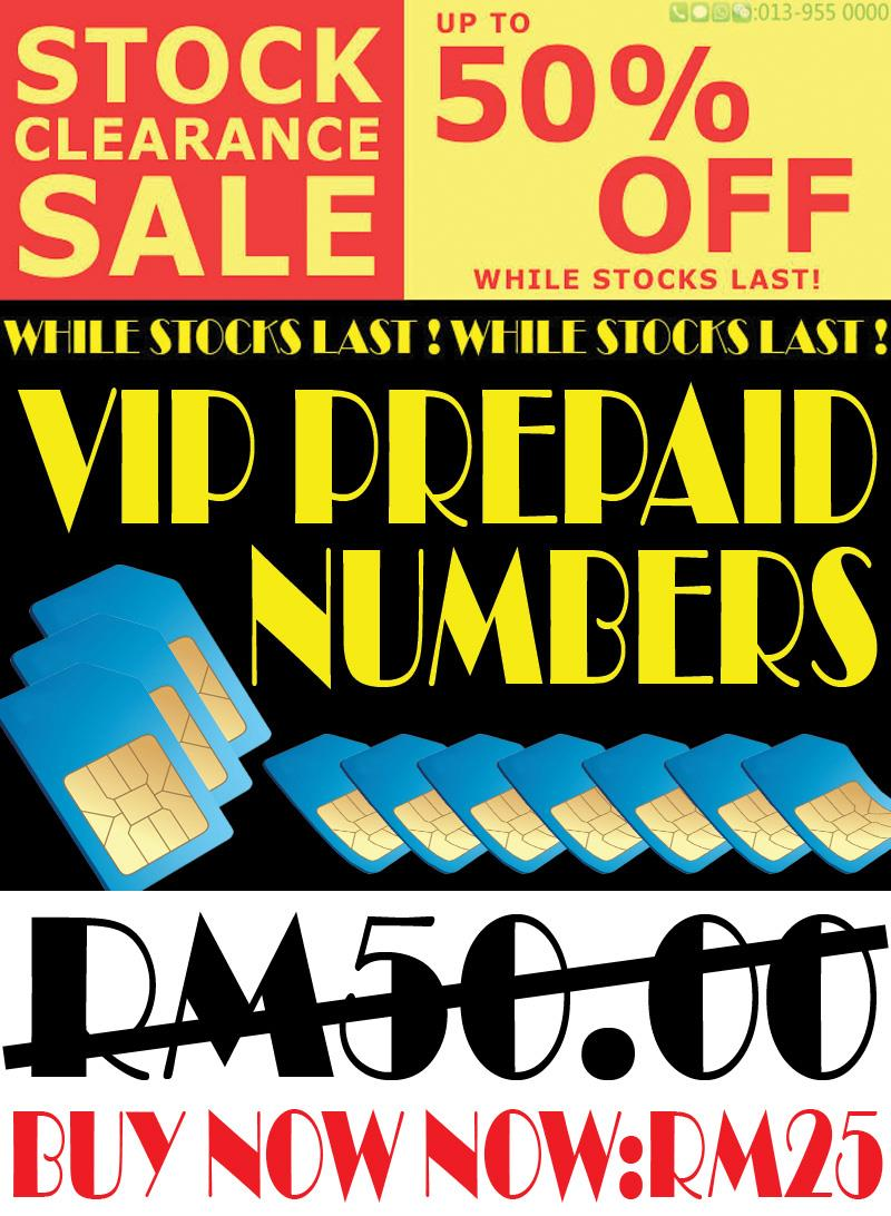 VIP PREPAID NUMBER STOCK CLEARANCE SALE 50% OFF.( ABAA / AABA )