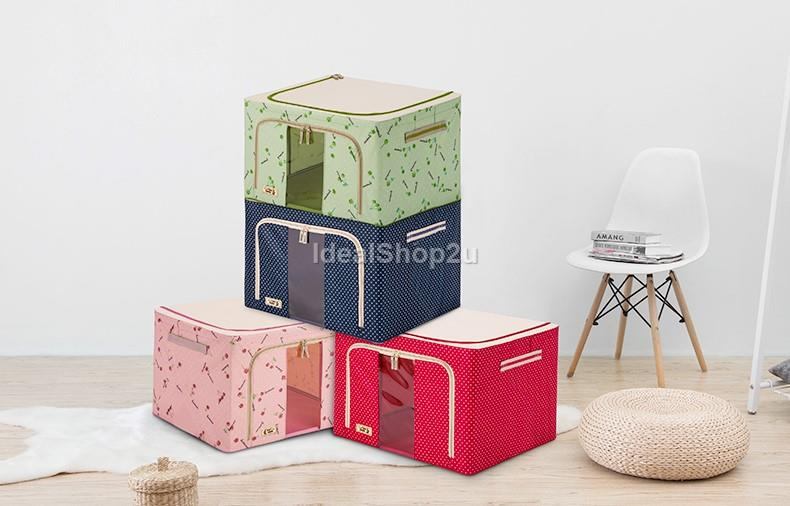 Visible Storage Box Cloth Organizer Home Foldable Wardrobe Space 66L