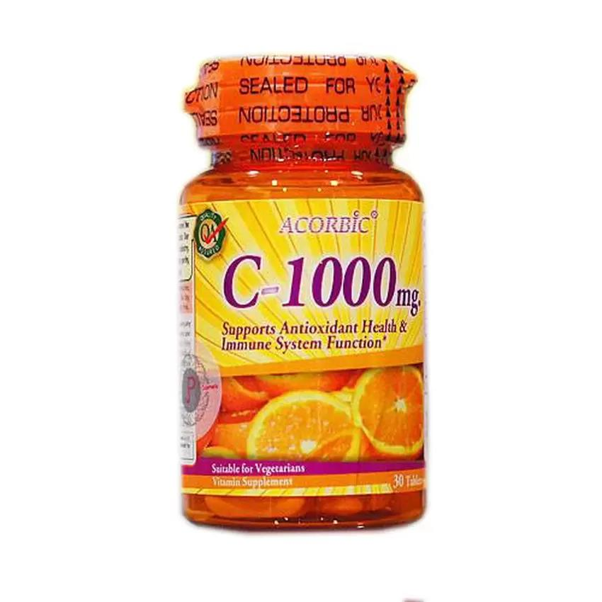 Vitamin C 1000 mg Wild Rosehips ACORBIC 30 tablets