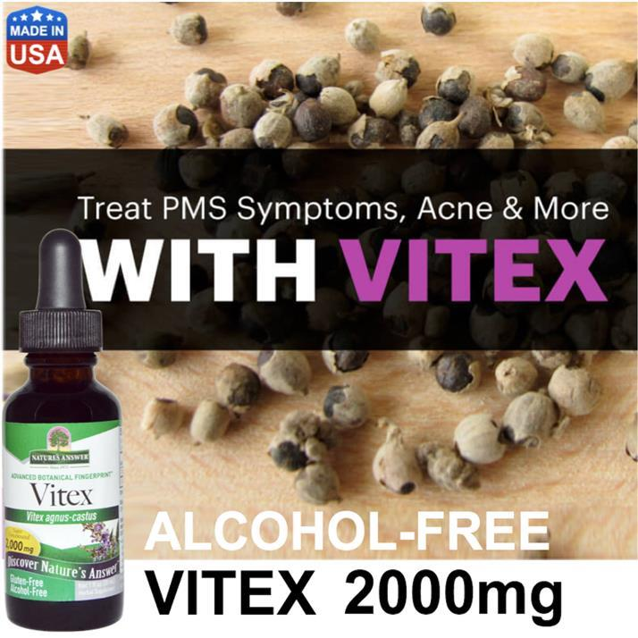 Vitex 2000mg liquid, Organic Alcohol-Free PMS, Menopause, Infertility