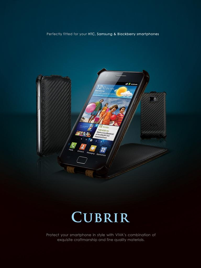 Viva Carbono Collection Flip leather Case for Samsung Galaxy S2 SII I9