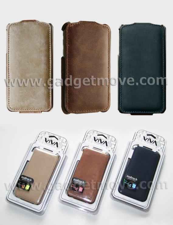 Viva iPhone 4S / 4 Leather Case Nubuck flip cover bag pouch