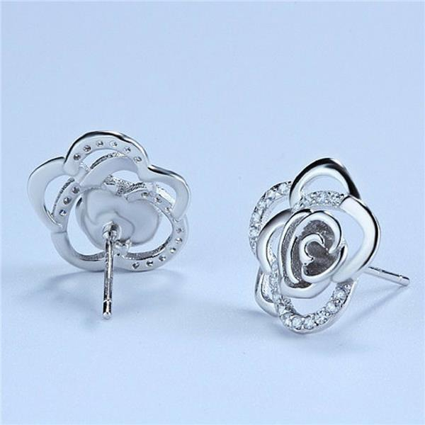 Vivere Rosse Camelia Flower Stud Earrings - Silver
