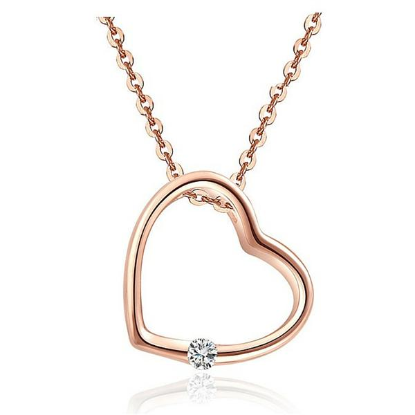 Vivere Rosse Chic Heart Necklace - Rose Gold