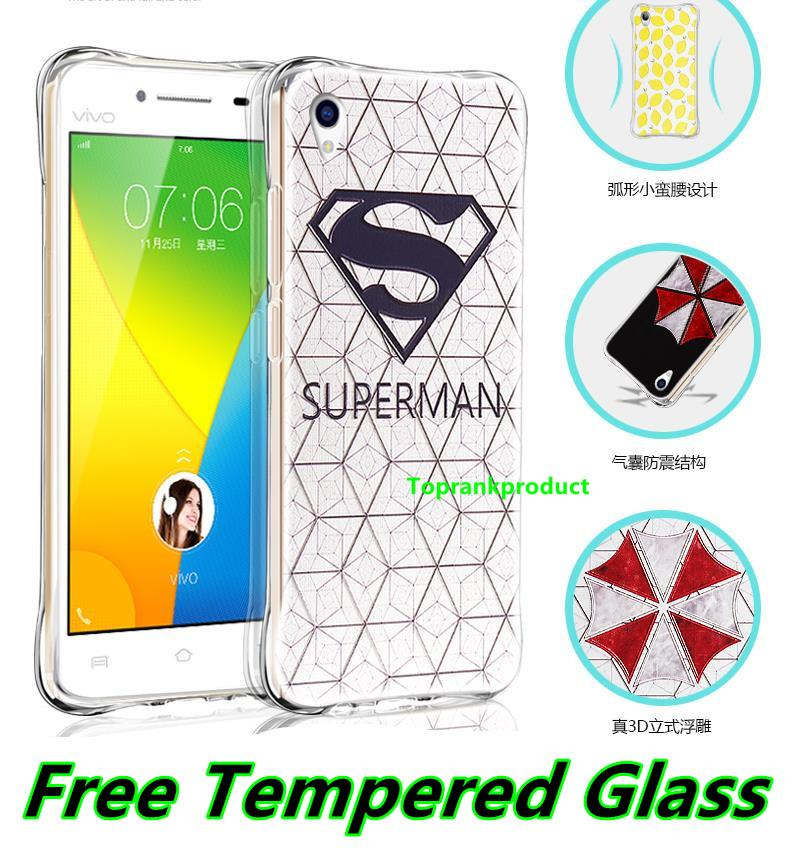ViVO Y31 Y27 Y22 3D Silicone Armor Case Cover Casing + Tempered Glass