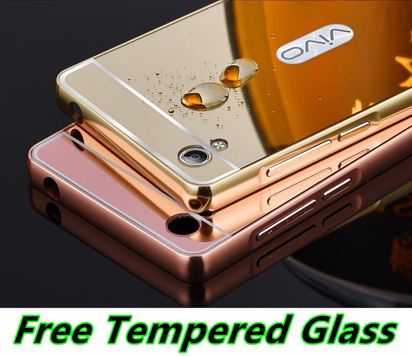 Vivo Y51 24K Mirror Metal Case Cover Casing + Free Tempered Glass