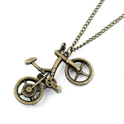 Vogue Cute Bronze Bicycle Pendant Long Chain Necklace