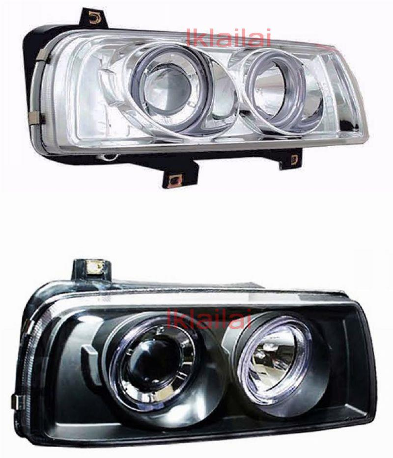 Volkswagen Vento 92-98 LED Ring Projector Head Lamp [Black/Chrome]