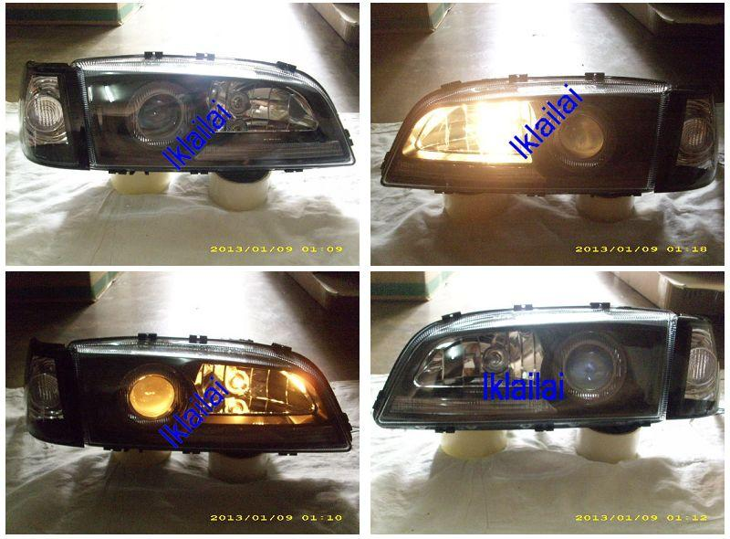VOLVO S70 Projector Head Lamp + Corner Lamp Glass Lens [Black Housing]