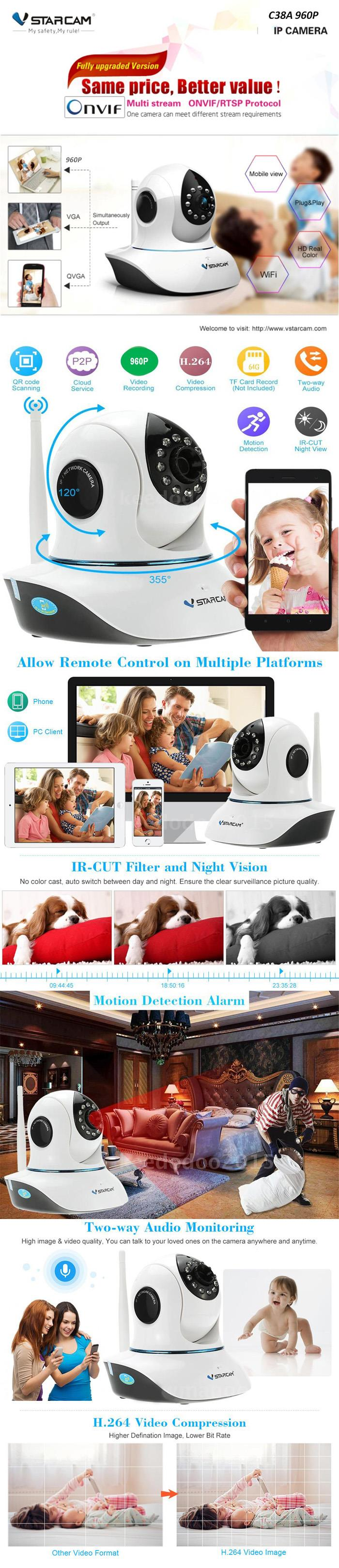 VSTARCAM Wifi IP Camera CCTV P2P HD 960P Pan and Tilt C38A