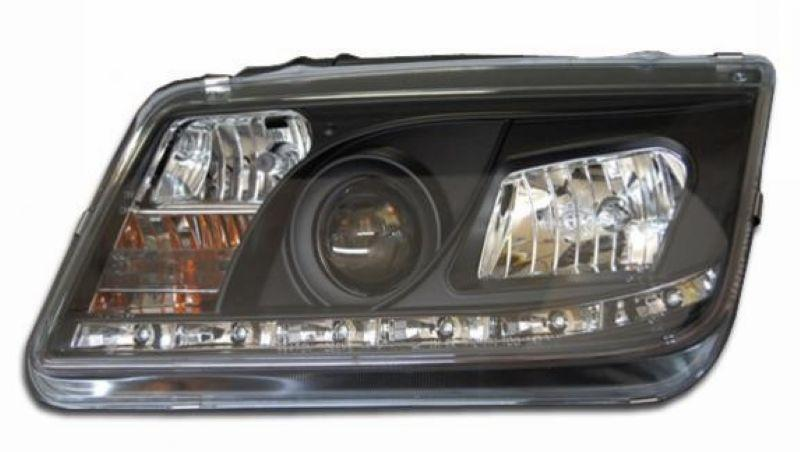 VW BORA JETTA 99-04 DRL R8 Projector Head Lamp Black