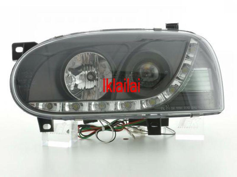 VW Golf 3 '93-97 Projector Head Lamp LED DRL R8