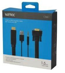 VZTEC HDMI TO VGA CONVERTOR 1.5M WITH AUDIO & USB (VT2650)