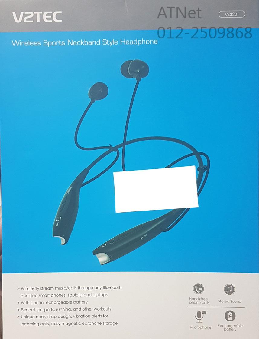 VZTEC WIRELESS SPORTS NECKBAND STYLE HEADPHONE (VZ3221) BLK