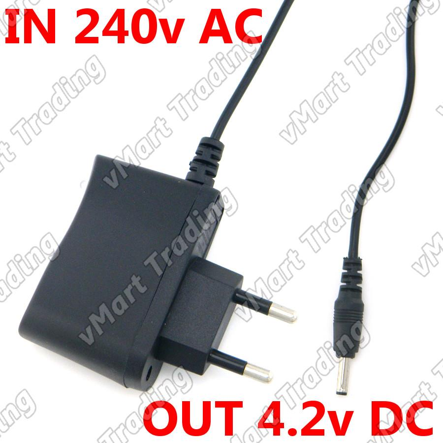 Wall Adapter for Flashlight / Headlamp Charger In 240V AC Out 4.2V DC