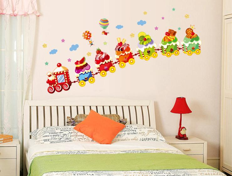 Wall sticker ice cream train hot air balloon children & kiddish series