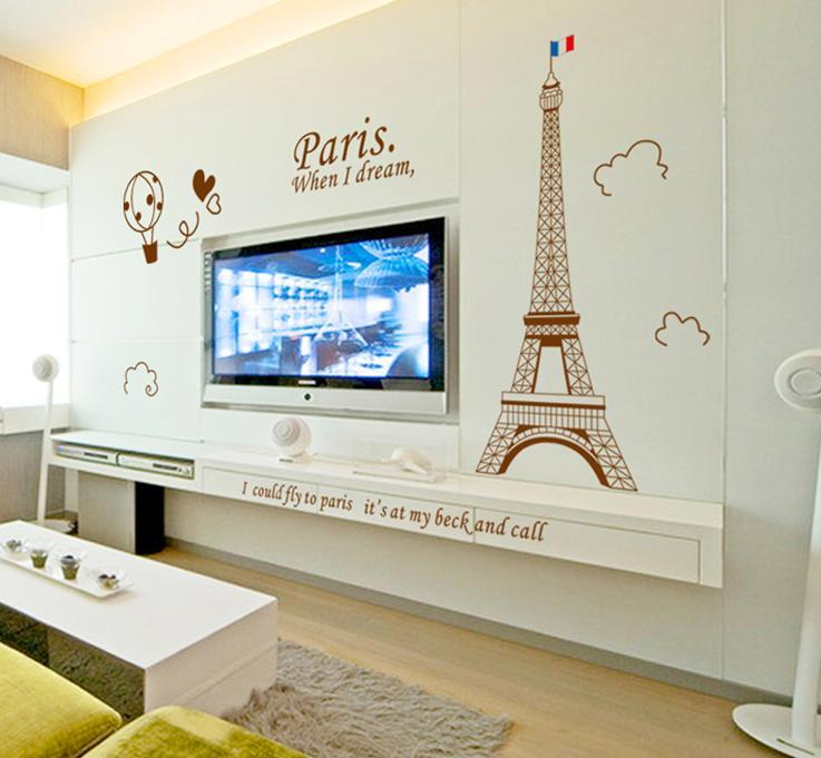 wall sticker paris tower france romantic hot air balloon love heart