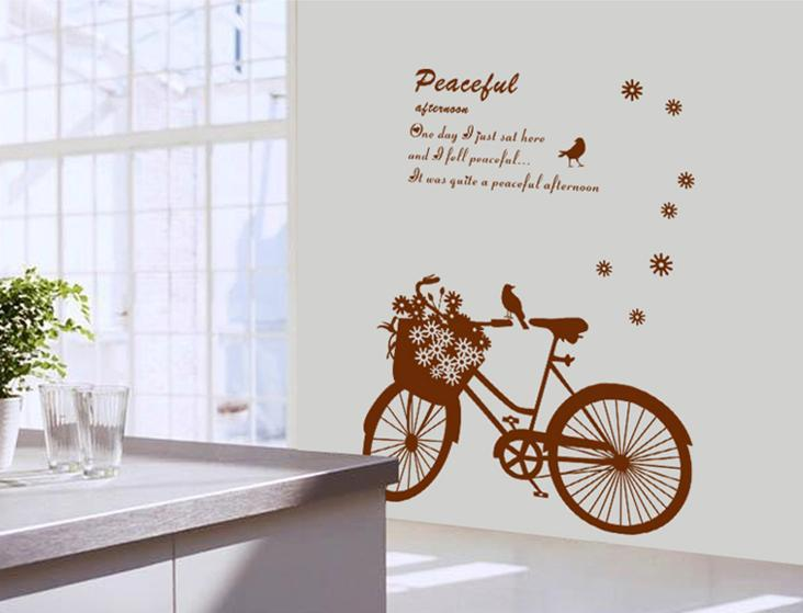 Wall sticker peaceful bicycle flower bird black&white series