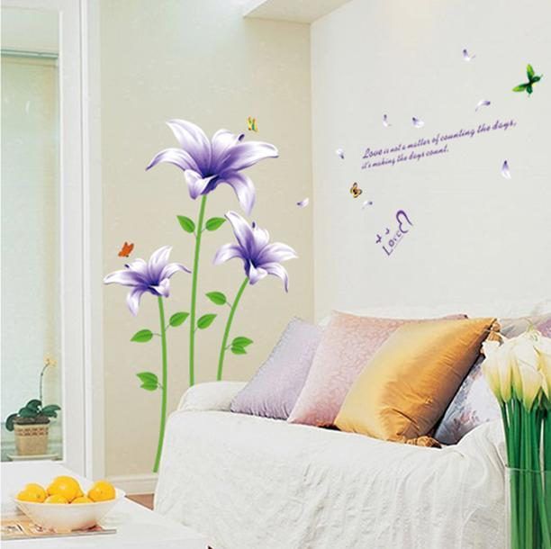 wall sticker purple flower love colourful & designers' series