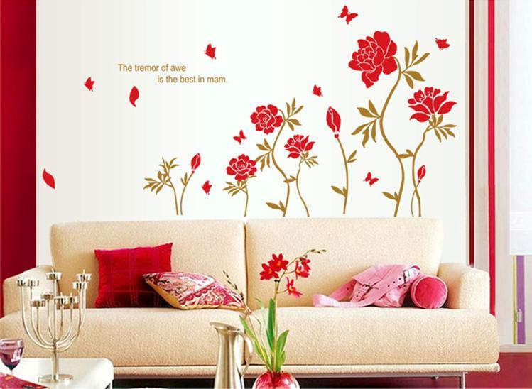 wall sticker red flower butterfly colourful & designers' series