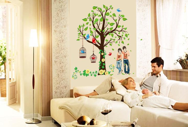 wall sticker tree bird cage couple colourful & designers' series
