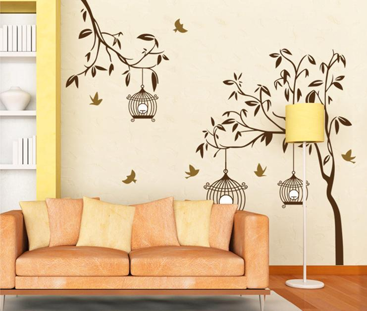 wall sticker tree leaves leaf bird cage black&white series