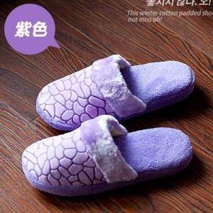New~ Water Cube Pattern Anti-slip Cotton Slippers (Purple)