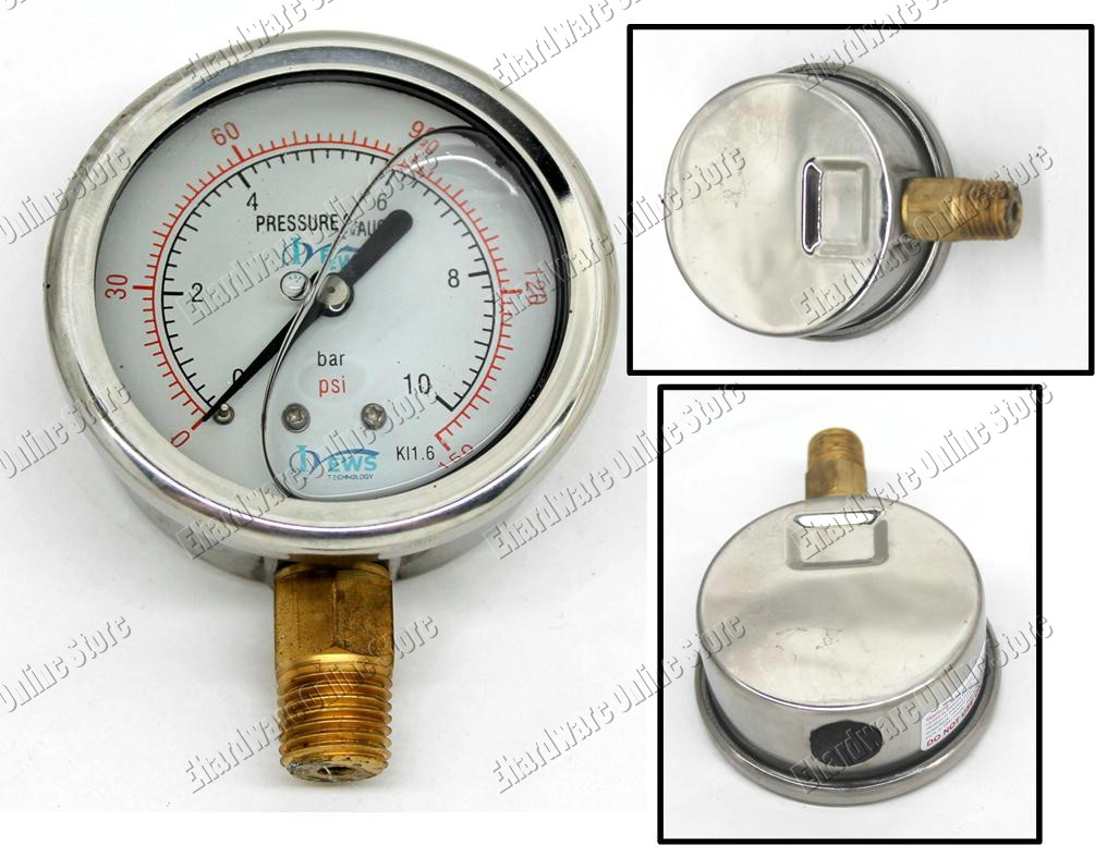 WATER SUPPLY LIQUID FILLED PRESSURE GAUGE 65MM 0-150PSI (LPG63/150)