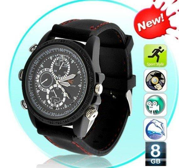 Waterproof 8GB SC Spy Pinhole Watch DVR CCTV Camera MP3 Player