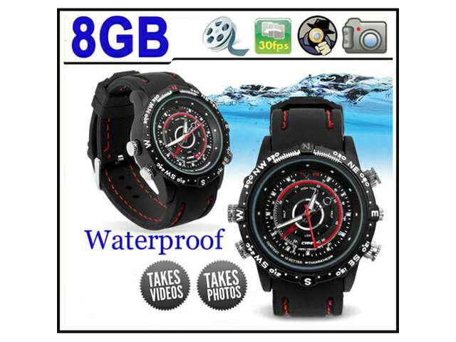 Waterproof 8GB Spy Pinhole Watch DVR CCTV Camera MP3 Player
