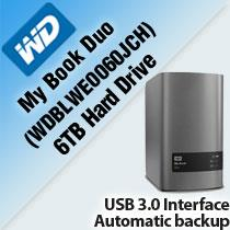 WD MY BOOK DUO 6TB HARD DRIVE (WDBLWE0060JCH)