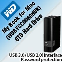 WD MY BOOK FOR MAC 6TB HARD DRIVE (WDBYCC0060HBK)