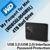 WD MY PASSPORT FOR MAC 4TB HARD DRIVE (WDBCGL0040BSL)