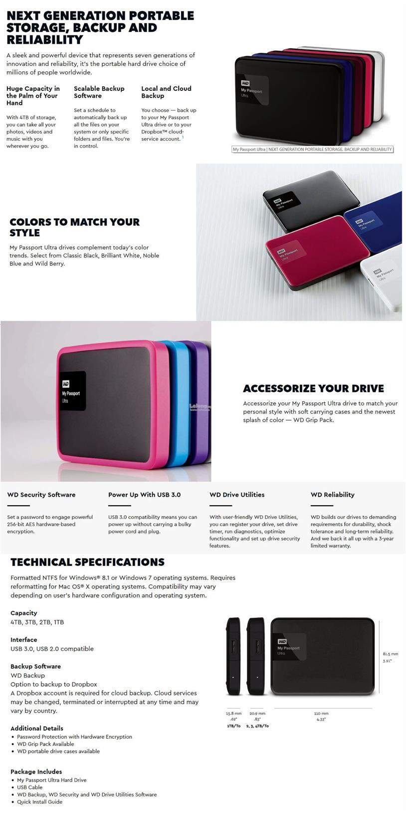 WD MY PASSPORT ULTRA 3TB (ASSORTED COLORS) EXTERNAL PORTABLE HARDDISK