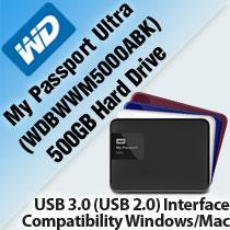 WD MY PASSPORT ULTRA 500GB HARD DRIVE (WDBWWM5000ABK)