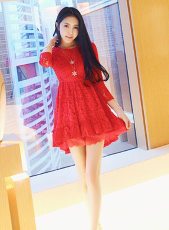 WD7080 Fashion Sweet Lace Dress Red