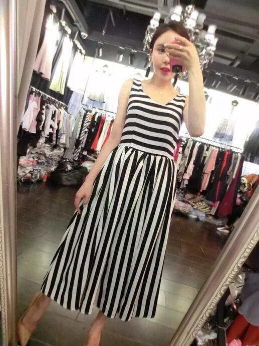 WD7089 Fashion Stripe Dress As Picture